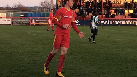 Sam Squire, ready to receive the ball during the first half of this afternoon's Southern League Prem