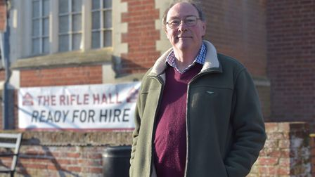 Trustee Simon Weeks in front of a sign that reads 'ready for hire' Picture: SONYA DUNCAN