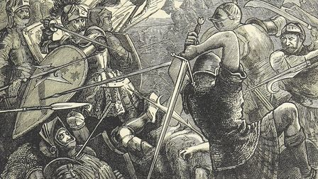 An imagination of the pitched combat between English and Scottish forces at the Battle of Flodden. T