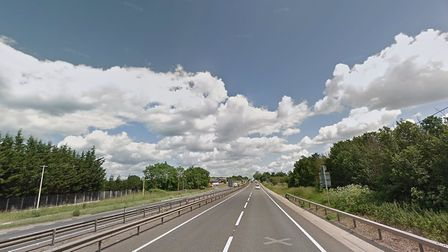 A car caught fire on the A12 northbound Picture: GOOGLE MAPS
