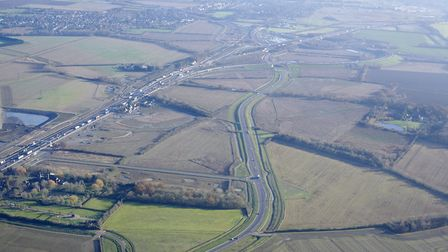 The new stretch of the A14 between Cambridge and Huntingdon is designed to relieve traffic congestio