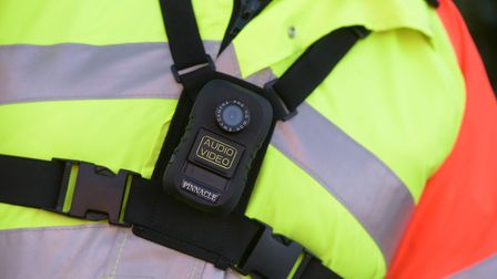 Traffic patrol officer Linda Love wearing a new body camera issued by Suffolk County Council. Pictur