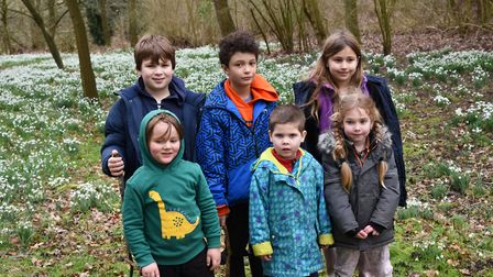 Joshua, Ethan, Esther, Ollie, Tom and Charli at the snowdrop displays at Daws Hall Trust in Bures P