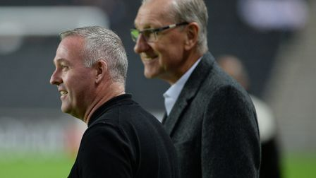 Ipswich Town legend Terry Butcher (right) pictured with Blues boss Paul Lambert. Photo: Pagepix