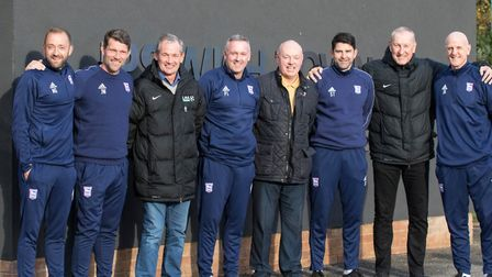 Ipswich Town legends George Burley, John Wark, and Terry Butcher met the current first team coaches