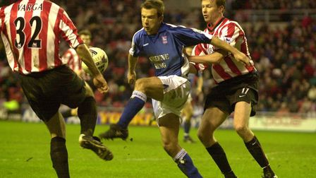 Marcus Stewart is kept at bay by the Sunderland defence during Town's FA Cup defeat in January, 2001