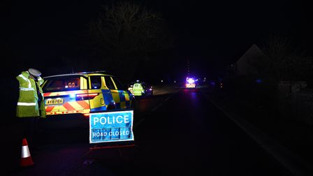 Police at the accident on the A140 at Little Stonham Picture: CHARLOTTE BOND