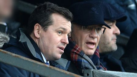 Ipswich Town general manager of football operations Lee O'Neill talks to club owner Marcus Evans at