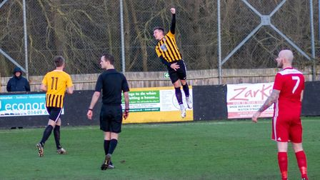 Stowmarket Town striker Christy Finch, in goal-celebration mode, will be looking to help Stowmarket