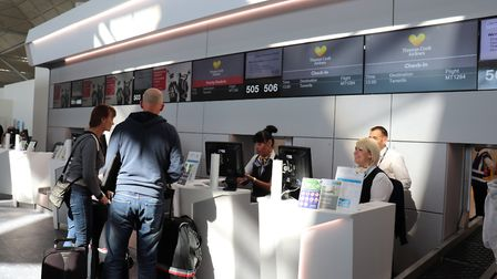 Stansted Airport check-in desks Picture: LONDON STANSTED AIRPORT