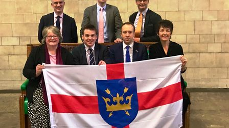 Suffolk's seven MPs have signed the letter to Chancellor Sajid Javid. Back row: James Cartlidge, Dr