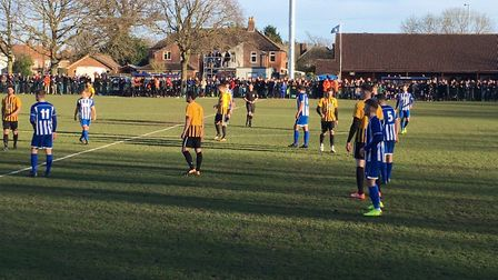Action from this afternoon's FA Vase fifth round tie between Wroxham and Stowmarket Town. Picture: C