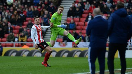 Tomas Holy is well out of his area to clear a threat at Sunderland Picture Pagepix
