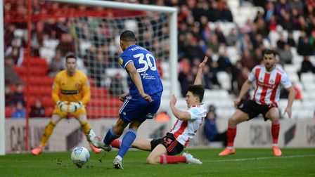 Myles Kenlock goes for goal and his shot is blocked during the first half at Sunderland Picture Page