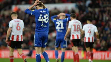 Disappointment for Ipswich players Will Keane and Flynn Downes at Sunderland Picture Pagepix