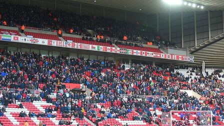 High view - Town fans on the top deck at Sunderland Picture Pagepix