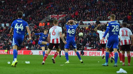 Flynn Downes blasts away a second half chance at Sunderland Picture Pagepix