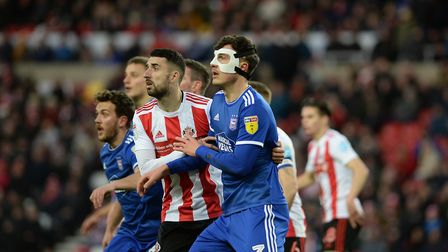 Josh Earl wearing the protective mask at Sunderland Picture Pagepix