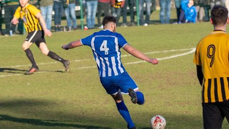 Wroxham midfielder Jordan King shapes to shoot during his side's 2-0 victory over Stowmarket Town in