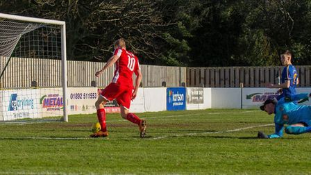 Armani Schaar looks certain to score after rounding the Romford keeper in the first minute, but Josh