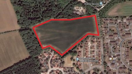 The site of the proposed 75 home development in Rendlesham Picture: GOOGLE MAPS