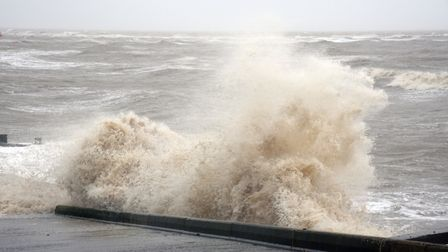 A choppy sea front in Felixstowe, due to the Storm Ciara Picture: CHARLOTTE BOND