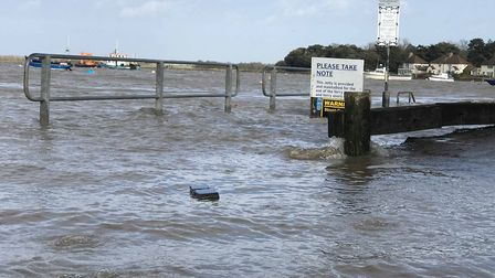 Felixstowe Ferry was flooded badly this morning, though flood waters have noow recceded. Picture: VI