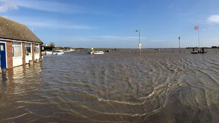 Orford Quay was submerged in water at lunchtime today Picture: KERRIE ROSSER