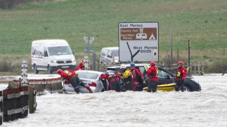 Cars became stuck in deep water in Essex Picture: BEN SUTTON, COLCHESTER COMMUNITY GROUP