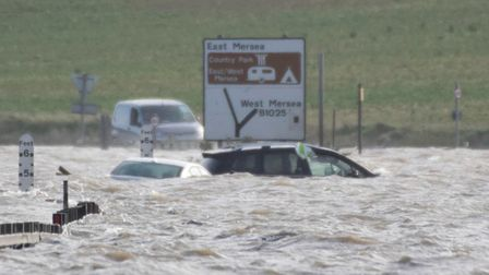 Cars became trapped in flood water in Essex Picture: BEN SUTTON, COLCHESTER COMMUNITY GROUP