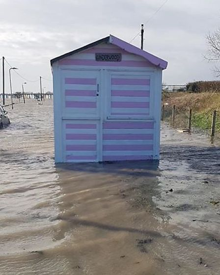 One beach hut ended up staranded in the middle of a road in Brightlingsea Picture: ROSIE BEE