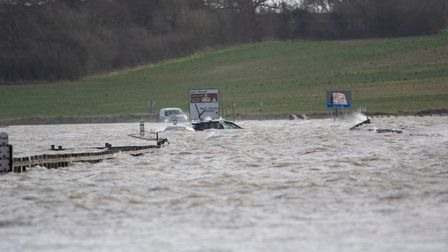 Deep water claiming cars in Essex Picture: BEN SUTTON, COLCHESTER COMMUNITY GROUP