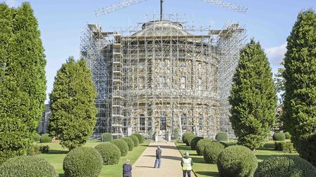 The scaffolding at Ickworth House is not thought to have been damaged by Storm Ciara. Picture: JIM W