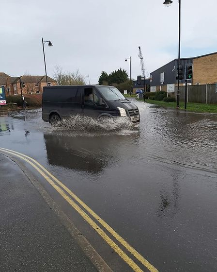 Water has been heading up the streets of Woodbridge Picture: DAVID SOAMES