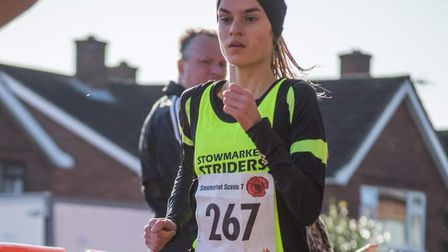 Maddie Jordan-Lee, pictured here winning the ladies' race at the Stowmarket Scenic Seven, was second