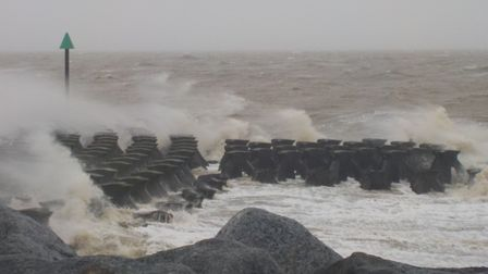 Waves caused by Storm Ciara at Felixstowe Picture: ASH WILLIAMS