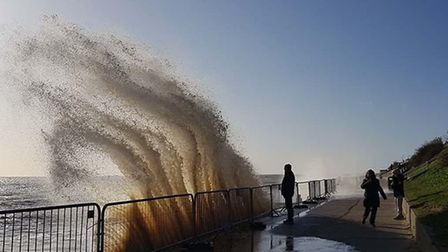 Dramatic high waves at Southwold Picture: STEPHEN WOOLLEY/@antiquechicgeek_of_southwold