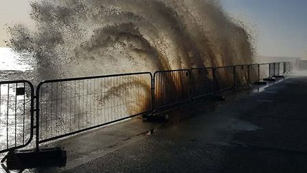 Dramatic waves at Southwold. Picture: STEPHEN WOOLLEY/ @antiquechicgeek_of_southwold