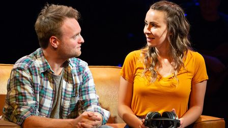 Daniel Healy and Emma Lucia as Guy and The Girl in the New Wolsey Theatre's production of Once which