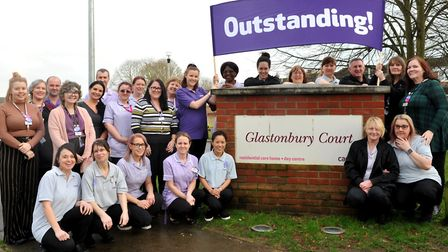 Staff and residents of Care Uk Glastonbury Court Bury St Edmunds celebrate an outstanding CQC rating