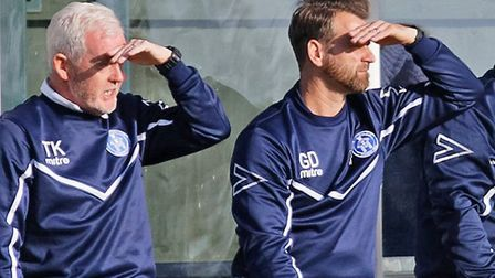 Leiston's management team of coach Tony Kinsella, left, and manager Glen Driver, in the sunshine at