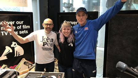 Andrew Stringer, left, and James Hoad from the John Peel Centre with worker Amie Alberio at HMV in B