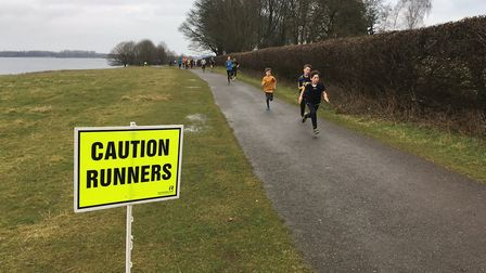 Young runners nearing the finish to the Rutland Water parkrun, from March, 2018. Picture: CARL MARST