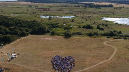 Thousands of protesters got together to show their love for Minsmere - forming a giant heart Picture