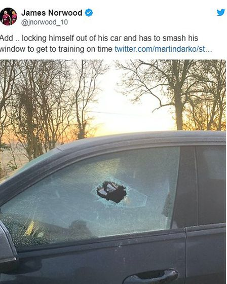 James Norwood's tweet about breaking into his own car. Picture: JAMES NORWOOD TWITTER
