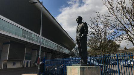 Sir Alf Ramsey died in 1999 and is cast in bronze on the corner of Portman Road. Picture: ARCHANT