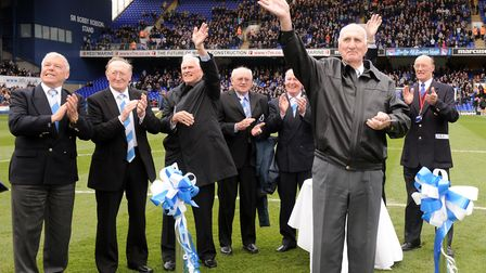 Members of the 1961/62 league winning team open the newly named Sir Alf Ramsey Stand in March 2012.