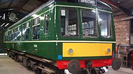 One of the East Anglian Railway Museum's diesel multiple unit vehicles resplendent after overhaul a