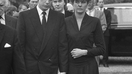 Jeremy Bamber, with his girlfriend Julie Mugford at the funeral of three members of his family Pictu