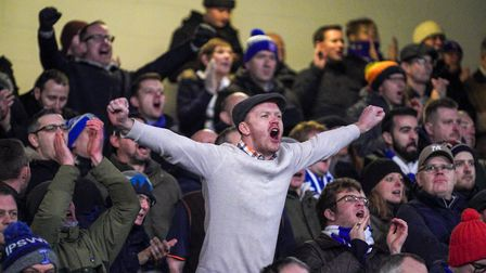 Ipswich Town fans celebrate after the 1-0 victory over Lincoln. Photo: Steve Waller